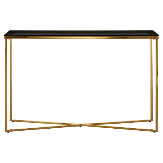 Algorab Black Glass Console Table With Gold Finish Cross Base  _2