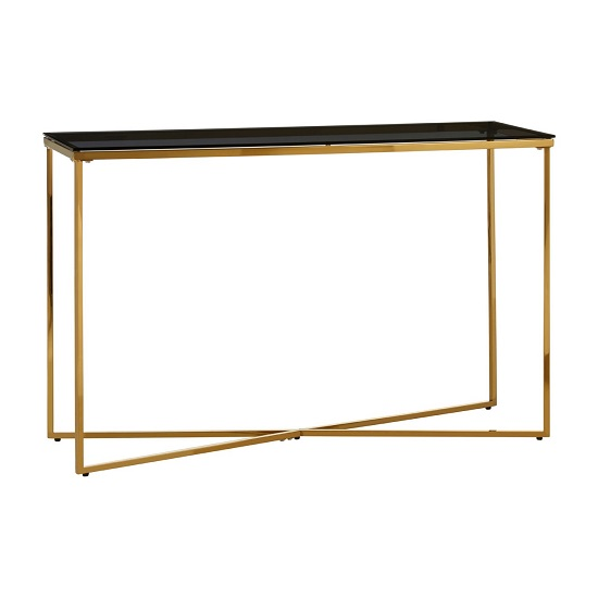 Algorab Black Glass Console Table With Gold Finish Cross Base