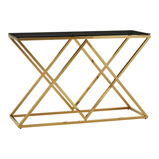 Algorab Black Glass Console Table With Stainless Steel Frame