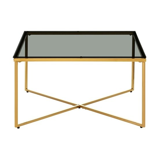 Algorab Black Glass End Table With Gold Finish Cross Base