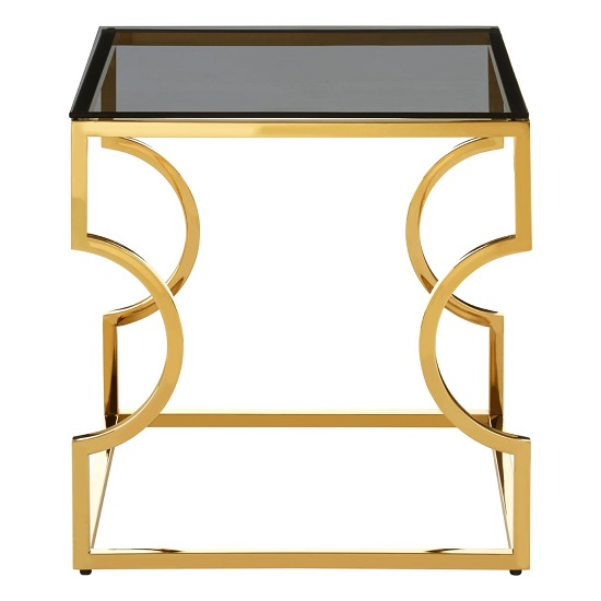 Bleadon Black Glass End Table With Gold Finish Curved Frame