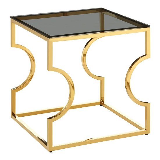 Algorab Black Glass End Table With Gold Finish Curved Frame  _2