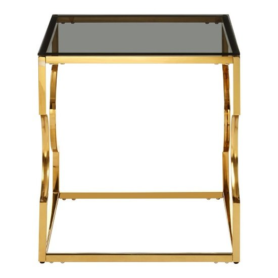 Algorab Black Glass End Table With Gold Finish Curved Frame  _3