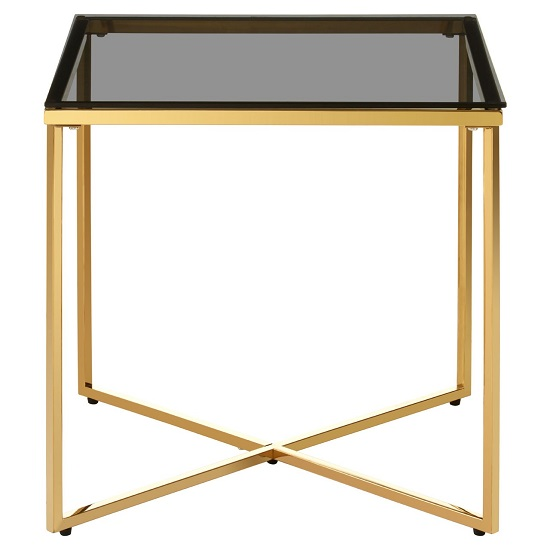 Algorab Black Glass Small End Table With Gold Finish Cross Base _1