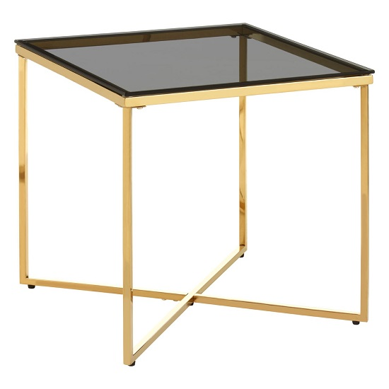 Algorab Black Glass Small End Table With Gold Finish Cross Base _2