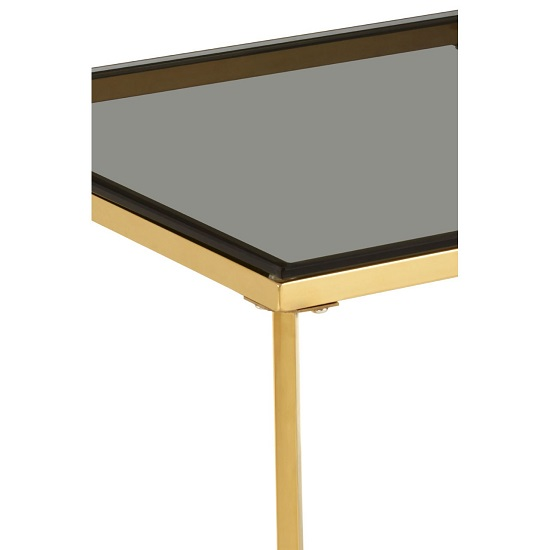 Algorab Black Glass Small End Table With Gold Finish Cross Base _3