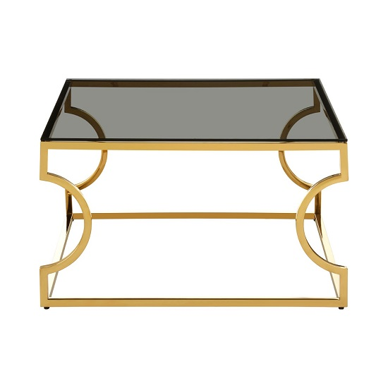 View Algorab black glass square coffee table with curved frame