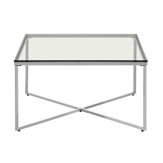 Algorab Clear Glass End Table With Silver Finish Cross Base