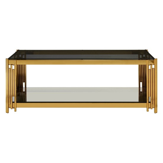 Algorab Glass Coffee Table With Gold Finish Linear Design Frame