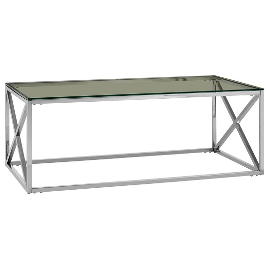 Algorab Clear Glass Coffee Table With Silver Cross Design Base
