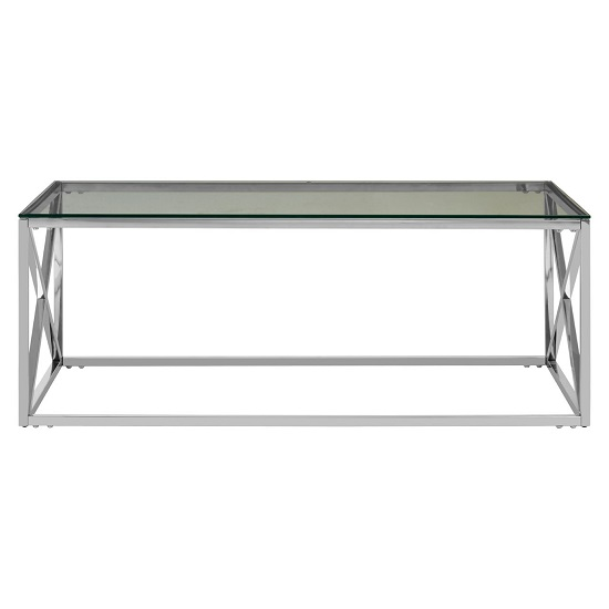 Algorab Clear Glass Coffee Table With Silver Cross Design Base  _2
