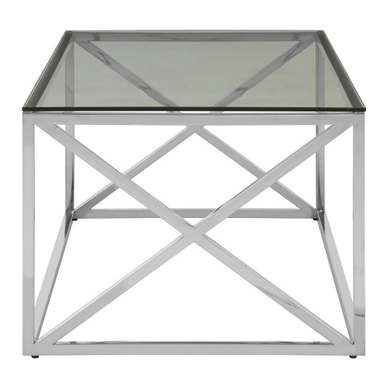 Algorab Clear Glass Coffee Table With Silver Cross Design Base  _3