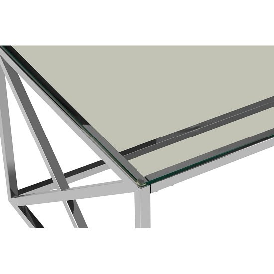 Algorab Clear Glass Coffee Table With Silver Cross Design Base  _4