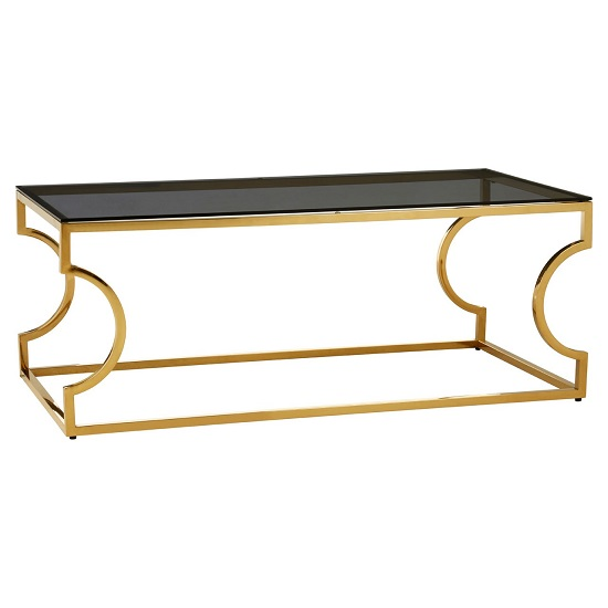 Bleadon Black Glass Rectangle Coffee Table With Curved Frame