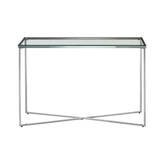 Algorab Glass Console Table With Silver Finish Cross Base   _1