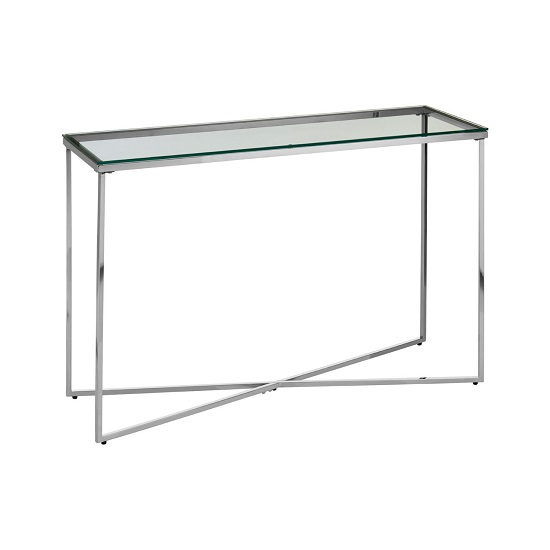 Algorab Glass Console Table With Silver Finish Cross Base   _2