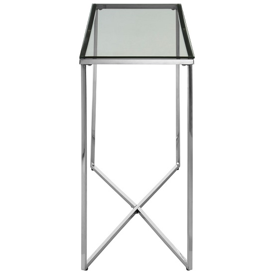 Algorab Glass Console Table With Silver Finish Cross Base   _4