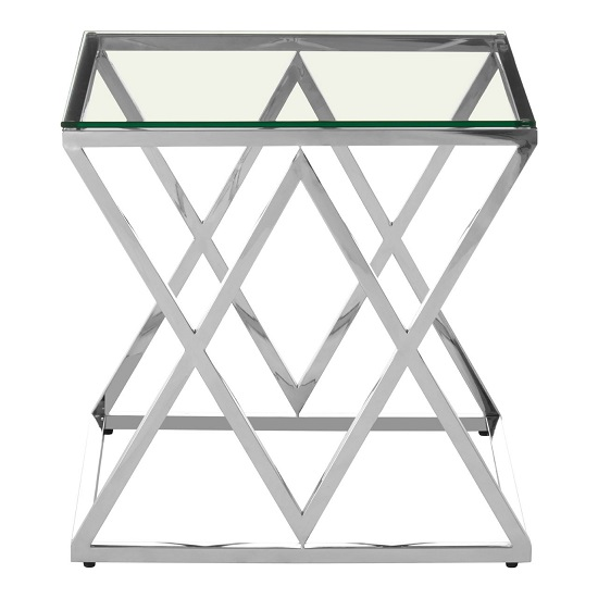 Algorab Glass Diamond Shape End Table With Silver Finish Base