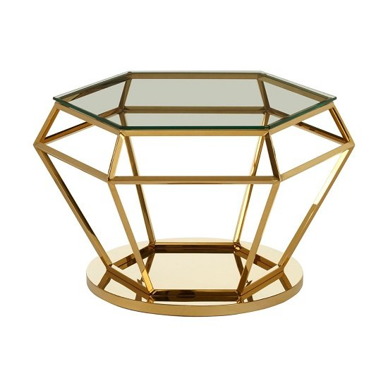 Algorab Glass Diamond Shape Side Table In Rich Gold Finish  _1