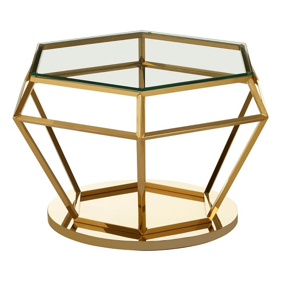 Algorab Glass Diamond Shape Side Table In Rich Gold Finish  _2