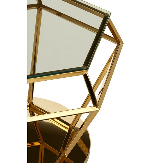 Algorab Glass Diamond Shape Side Table In Rich Gold Finish  _3