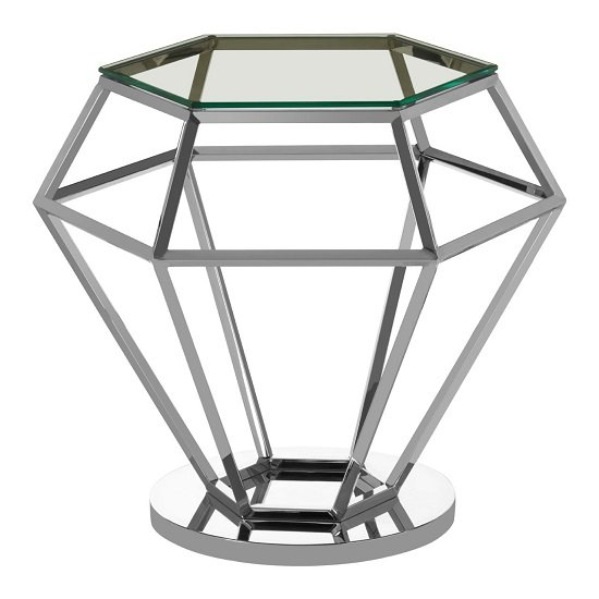 Bleadon Glass Diamond Shape Small Side Table In Silver Finish