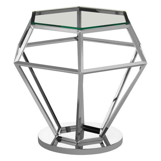 Algorab Glass Diamond Shape Small Side Table In Silver Finish  _2