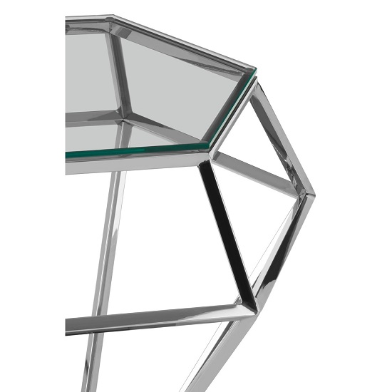 Algorab Glass Diamond Shape Small Side Table In Silver Finish  _4