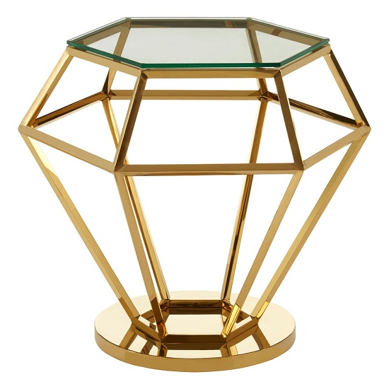Algorab Glass Diamond Shape Small Side Table In Rich Gold Finish