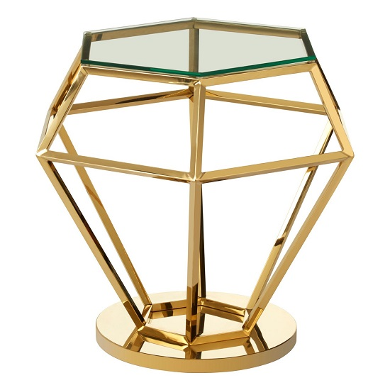 Bleadon Glass Diamond Shape Small Side Table In Rich Gold Finish_2