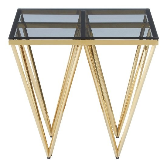 Algorab Glass End Table With Gold Finish Spike Design Legs