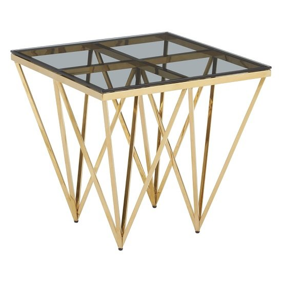 Algorab Glass End Table With Gold Finish Spike Design Legs  _2