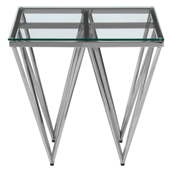 Bleadon Glass End Table With Silver Finish Spike Design Legs