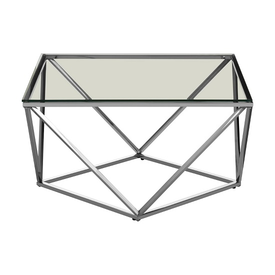 Algorab Glass Large End Table With Silver Twist Base Design