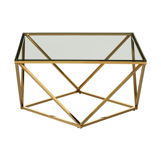 Product photograph showing Algorab Glass Side Table With Gold Finish Twist Base Design