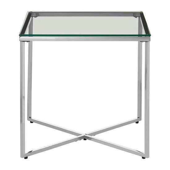 Bleadon Clear Glass Small End Table With Silver Cross Base