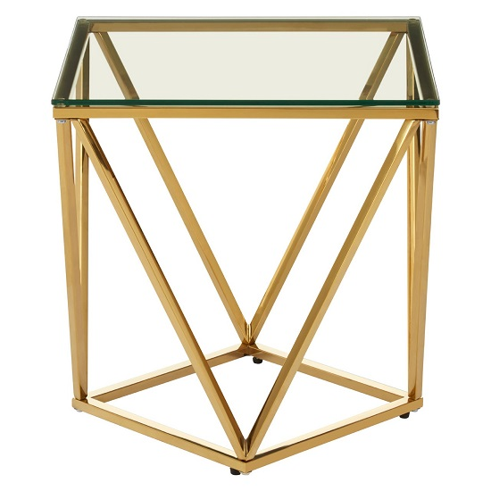 Algorab Glass Small Side Table With Gold Twist Base Design