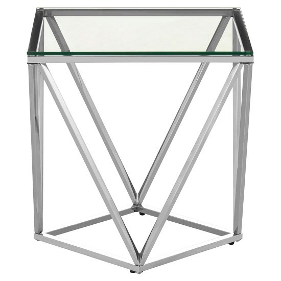 Algorab Glass Small End Table With Silver Twist Base Design
