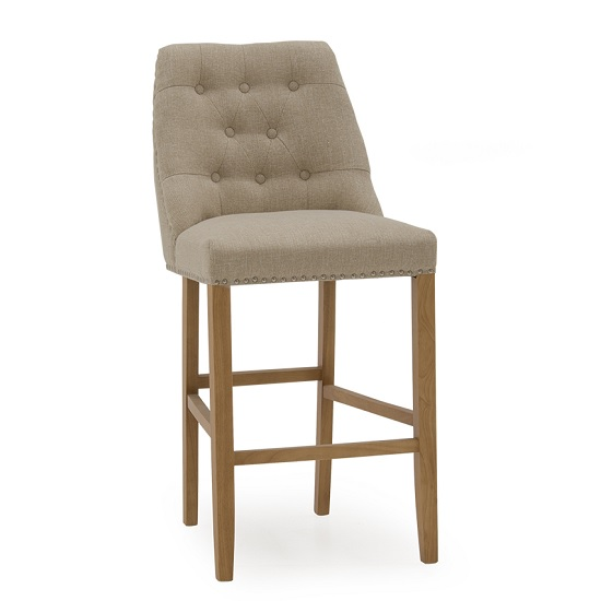 Blenheim Bar Chair In Linen Beige With Wooden Legs_1