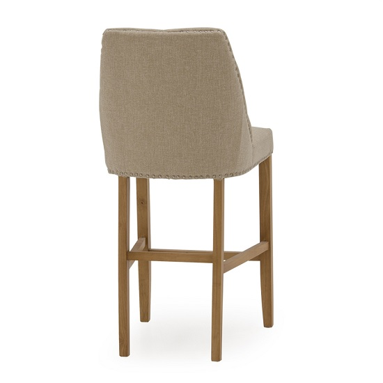 Blenheim Bar Chair In Linen Beige With Wooden Legs_2