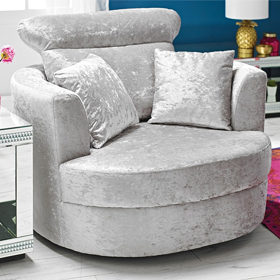 Bliss Fabric Large Swivel Tub Chair In Silver