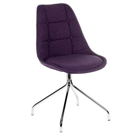 Blitz Fabric Visitor Chair In Plum With Chrome Legs