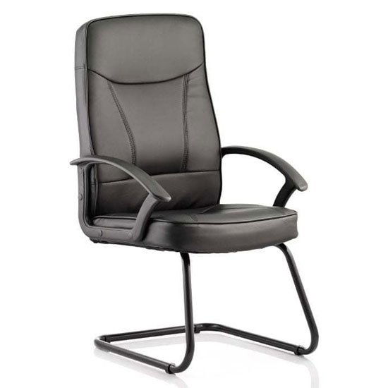 Blitz Leather Cantilever Visitor Chair In Black With Arms