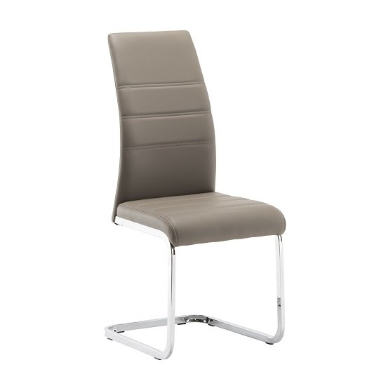 Blixen Dining Chair In Taupe Faux Leather And Stainless Steel_1