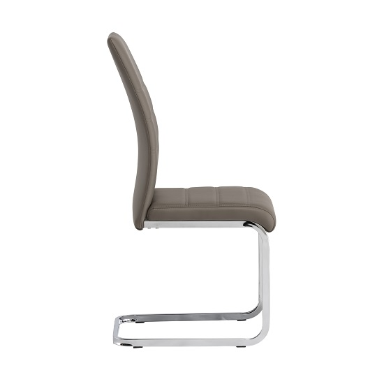 Blixen Dining Chair In Taupe Faux Leather And Stainless Steel_2