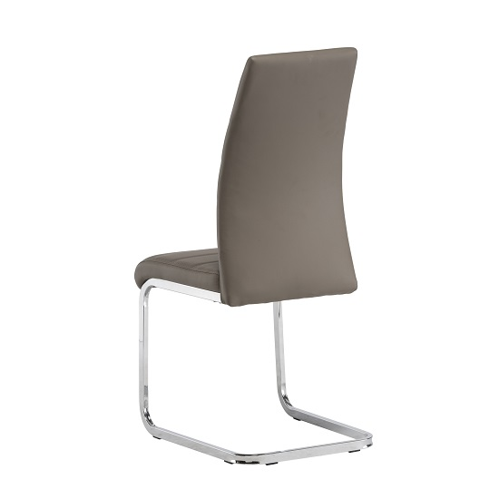Blixen Dining Chair In Taupe Faux Leather And Stainless Steel_3