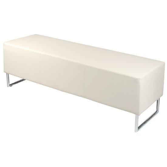 Blockette Bench Seat In Cream Faux Leather With Chrome Legs