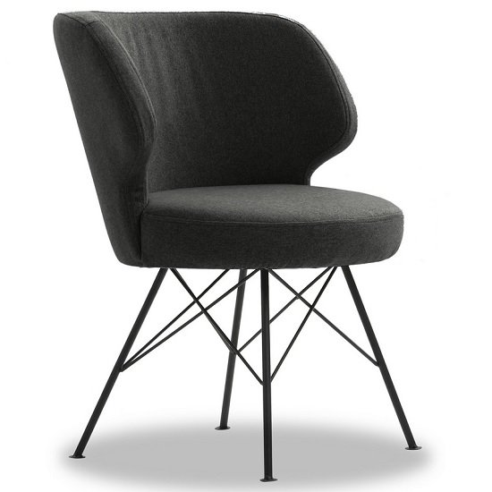 Blokty Modern Fabric Accent Chair In Charcoal With Metal Legs