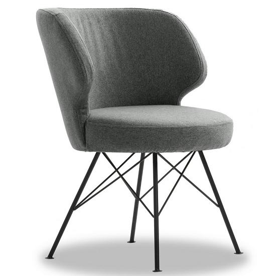 Blokty Modern Fabric Accent Chair In Light Grey With Metal Legs