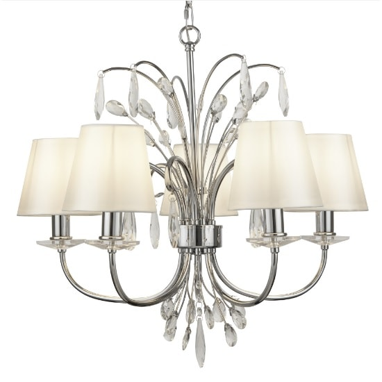 Bloom 5 Light Pendant In Chrome With White Shades